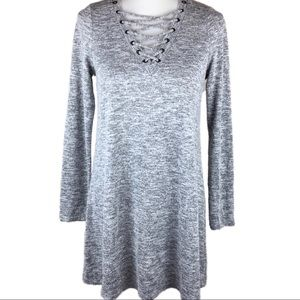 About a Girl L lace up sweater dress stretch